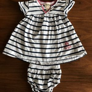 Marine style striped dress and panty